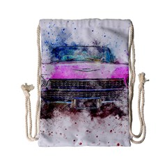 Pink Car Old Art Abstract Drawstring Bag (small) by Celenk