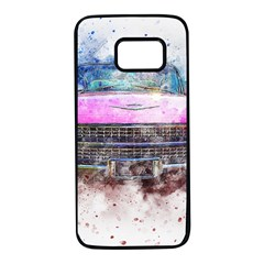 Pink Car Old Art Abstract Samsung Galaxy S7 Black Seamless Case by Celenk