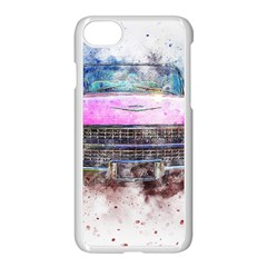 Pink Car Old Art Abstract Apple Iphone 8 Seamless Case (white)