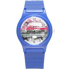 Car Old Car Art Abstract Round Plastic Sport Watch (s)