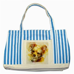 Dog Animal Art Abstract Watercolor Striped Blue Tote Bag by Celenk