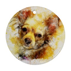 Dog Animal Art Abstract Watercolor Round Ornament (two Sides)
