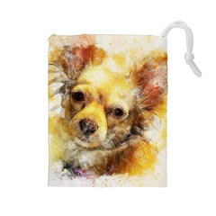 Dog Animal Art Abstract Watercolor Drawstring Pouches (large)  by Celenk