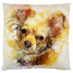Dog Animal Art Abstract Watercolor Large Flano Cushion Case (two Sides)