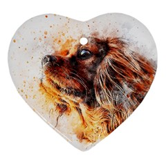 Dog Animal Pet Art Abstract Heart Ornament (two Sides)