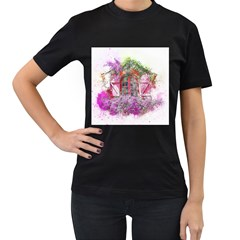 Window Flowers Nature Art Abstract Women s T Shirt (black) (two Sided)