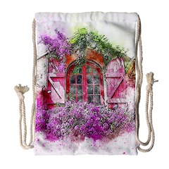 Window Flowers Nature Art Abstract Drawstring Bag (large) by Celenk