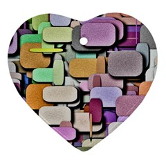 Background Painted Squares Art Ornament (heart)
