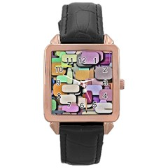 Background Painted Squares Art Rose Gold Leather Watch