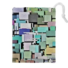 Background Painted Squares Art Drawstring Pouches (xxl) by Celenk