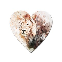 Lion Animal Art Abstract Heart Magnet by Celenk