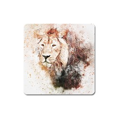 Lion Animal Art Abstract Square Magnet