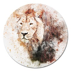 Lion Animal Art Abstract Magnet 5  (round)