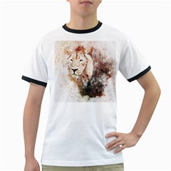 Lion Animal Art Abstract Ringer T Shirts