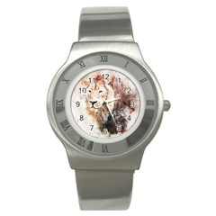 Lion Animal Art Abstract Stainless Steel Watch by Celenk
