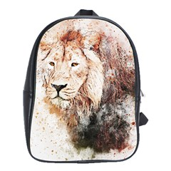 Lion Animal Art Abstract School Bag (large)