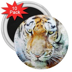 Tiger Animal Art Abstract 3  Magnets (10 Pack)  by Celenk