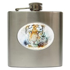 Tiger Animal Art Abstract Hip Flask (6 Oz) by Celenk