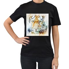 Tiger Animal Art Abstract Women s T Shirt (black) (two Sided)