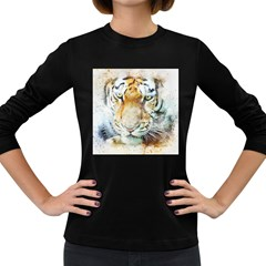 Tiger Animal Art Abstract Women s Long Sleeve Dark T Shirts