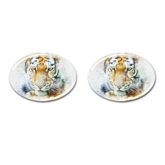 Tiger Animal Art Abstract Cufflinks (oval) by Celenk
