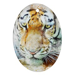 Tiger Animal Art Abstract Oval Ornament (two Sides)