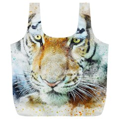 Tiger Animal Art Abstract Full Print Recycle Bags (l)