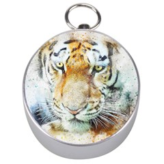 Tiger Animal Art Abstract Silver Compasses by Celenk