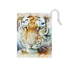 Tiger Animal Art Abstract Drawstring Pouches (medium)  by Celenk