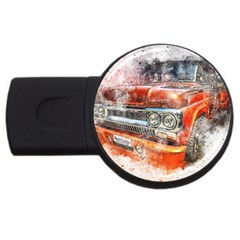 Car Old Car Art Abstract Usb Flash Drive Round (2 Gb)