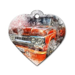 Car Old Car Art Abstract Dog Tag Heart (two Sides) by Celenk