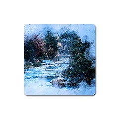 River Water Art Abstract Stones Square Magnet