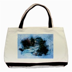 River Water Art Abstract Stones Basic Tote Bag