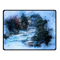 River Water Art Abstract Stones Double Sided Fleece Blanket (small)