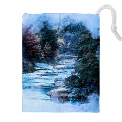 River Water Art Abstract Stones Drawstring Pouches (xxl) by Celenk