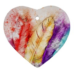 Feathers Bird Animal Art Abstract Heart Ornament (two Sides) by Celenk