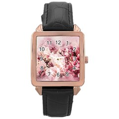 Flowers Bouquet Art Abstract Rose Gold Leather Watch  by Celenk