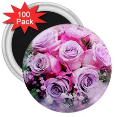 Flowers Roses Bouquet Art Abstract 3  Magnets (100 Pack)