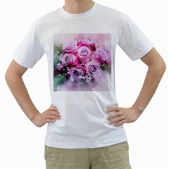 Flowers Roses Bouquet Art Abstract Men s T Shirt (white) (two Sided)