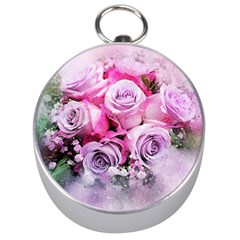 Flowers Roses Bouquet Art Abstract Silver Compasses by Celenk