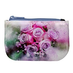 Flowers Roses Bouquet Art Abstract Large Coin Purse