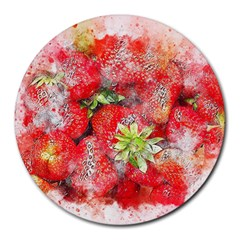 Strawberries Fruit Food Art Round Mousepads by Celenk