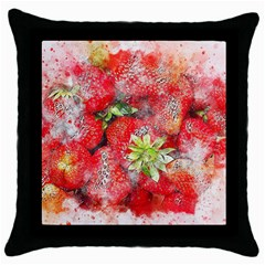 Strawberries Fruit Food Art Throw Pillow Case (black)