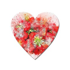 Strawberries Fruit Food Art Heart Magnet by Celenk