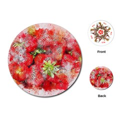 Strawberries Fruit Food Art Playing Cards (round)  by Celenk
