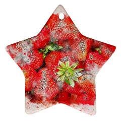 Strawberries Fruit Food Art Star Ornament (two Sides) by Celenk