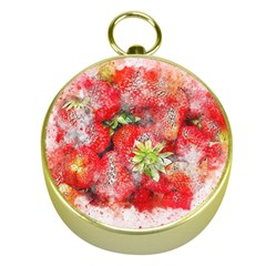 Strawberries Fruit Food Art Gold Compasses by Celenk