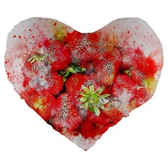 Strawberries Fruit Food Art Large 19  Premium Flano Heart Shape Cushions by Celenk