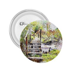River Bridge Art Abstract Nature 2 25  Buttons by Celenk