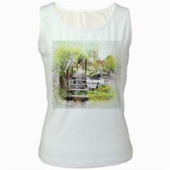 River Bridge Art Abstract Nature Women s White Tank Top by Celenk